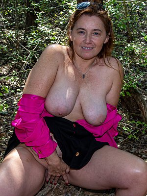 Busty Wife Posing Outdoor